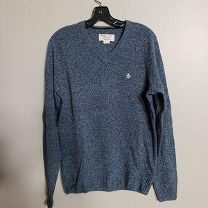 Penguin Mens v-neck slate blue/gray sweater